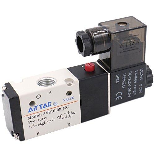 Heschen 3V210-08 Pneumatisches Magnetventil, elektrisch, 24 V Gleichstrom, 6,3 W, PT1/4, 3/2-Wege, 2 Positionen, CE-zertifiziert - 2 Magnetventil
