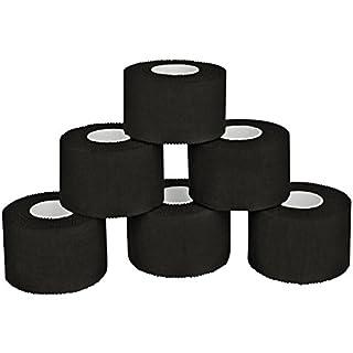 6 x Sport-Tape 3,8 cm x 10 m in verschiedenen Farben, Farbe:schwarz