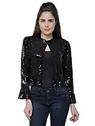 MansiCollections Black Sequined Jacket For Women