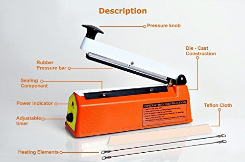 Pack Plus Hand Sealing Machine Hand Sealer impulse Sealer Heat Sealer 16 inch iron Body Heavy Duty