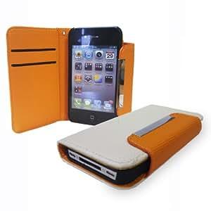 LOVE MY CASE / iPhone 4 / 4G / 4S / Stylish Orange & White Leather Wallet Case / NEW