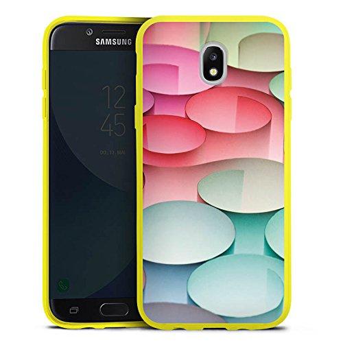 DeinDesign Samsung Galaxy J5 2017 Silikon Hülle transparent gelb Case Schutzhülle Kreise Papier Struktur (Gelber Kreis Papier)