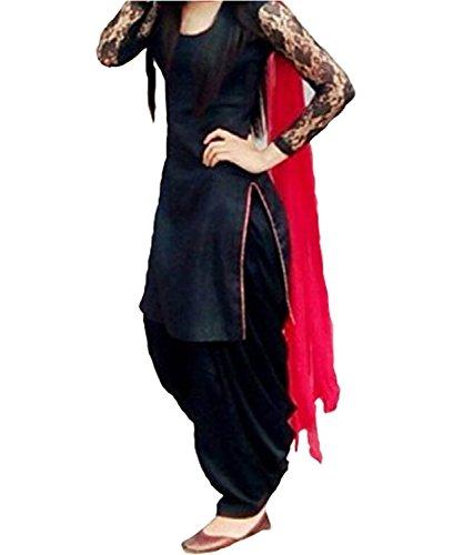 Market Magic World Women's Soft Net Semi stitched Anarkali Salwar Suits Sets (Free Size_ Black _Dress_MMW2046)