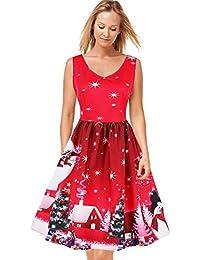 FTVOGUE Donne Vintage Natale Stampa V-Collo Senza Maniche Vestito Casual da  Festa Partito Dress 8d31ad0ee45
