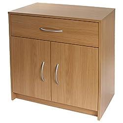 Devoted2Home Boldon | Lounge Furniture | 2 Door / 1 Drawer Sideboard | Storage Cabinet | Oak, 38.8x68.8x73.5 cm