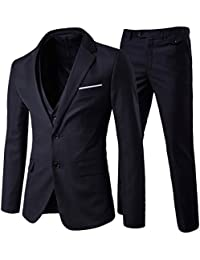 b92d077041 Cloudstyle Men s Modern Fit 3-Piece Suit Blazer Jacket Tux Vest   Trousers