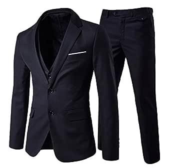 Cloudstyle Men's 3-Piece Suit 2 Buttons Slim Fit Solid Color Jacket Smart Formal Suit