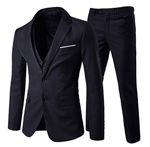 Allthemen Herren 3-Teilig Slim Fit Anzug Zwei Knöpfe Business Sakko