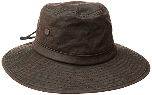 san-diego-hat-co-mens-distressed-wax-cloth-hat-with-adjustable-suede-chin-cord-brown-one-size