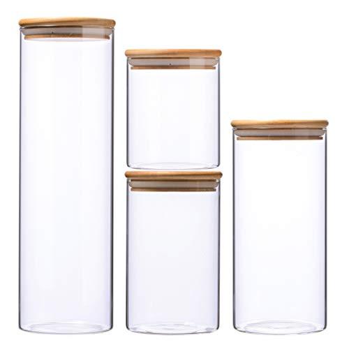 Leaf House 0.5L,0.8L,1.1L,1.8L Glasbehälter Φ9.5cm Vorratdosen Vorratsglas aus Borosilikatglas mit Bambus-Deckel, geeignet für Lebensmittel, 4er Set