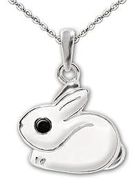 Clever Juego de joyas plateado colgante conejo 12x 11mm pelo blanco lacado Ojos Negro Brillante con cadena ancla 40cm plata de ley 925para niños