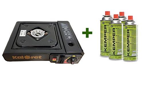 KIT FORNELLO CAMPEGGIO + 4 CARTUCCE - Fornello da Campeggio in valigetta portatile + 4...