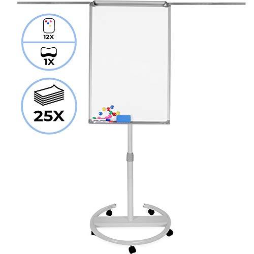 Flipchart mit Rollenfuß - 60 x 90, höhenverstellbar, 2 Seitenarme, inkl. Papier, Magnete, Schwamm, Papierhalterung, Weiß - Whiteboard, Magnettafel