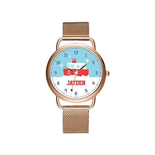 Frauen Uhren Marke Damen mesh gürtel ultradünne Uhr wasserdichte Uhr quarzuhr Weihnachten Nette Bad Spielzeug Boot nautisch für Jungen Uhr - Nautische Weihnachten