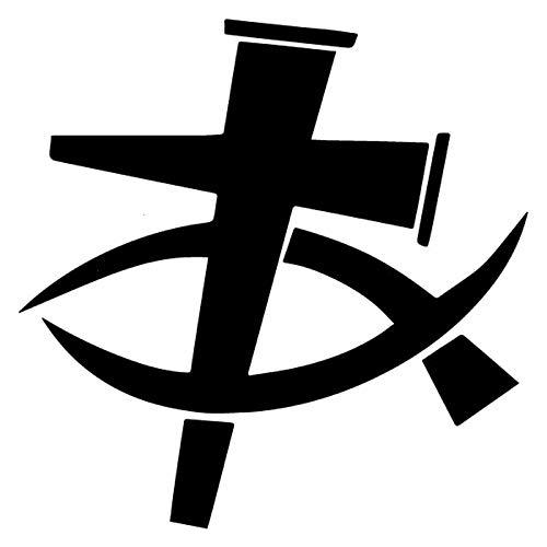 ZHYCT 2 Stücke, Christian Kruzifix Schwarz Vinyl Aufkleber Aufkleber Lustige Autofenster Aufkleber Stoßstange Aufkleber Grafiken Aufkleber Für Laptop Van, Motorrad