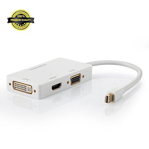 3in1 Mini Display Port zu VGA + HDMI + DVI Adapter (Konverter) für Apple MacBook, MacBook Air, MacBook Pro, iMac, Mac mini, Microsoft Surface Pro 1 2 3, Lenovo Thinkpad X1, Carbon, Dell, Google, Touch, HP, Toshiba, weiß, vergoldete Kontakte, HAHAHA