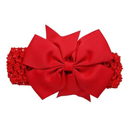 erthome Baby Haarnadel, Kinder elastisches Blumen Stirnband Haar Mädchen Baby Bowknot Haarband Set 3Pcs (Spitzen-Schleife Rot)