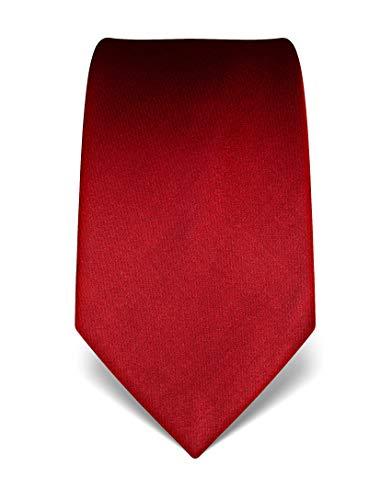 Vincenzo Boretti Herren Krawatte reine Seide uni einfarbig edel Männer-Design gebunden zum Hemd mit Anzug für Business Hochzeit 8 cm schmal/breit weinrot