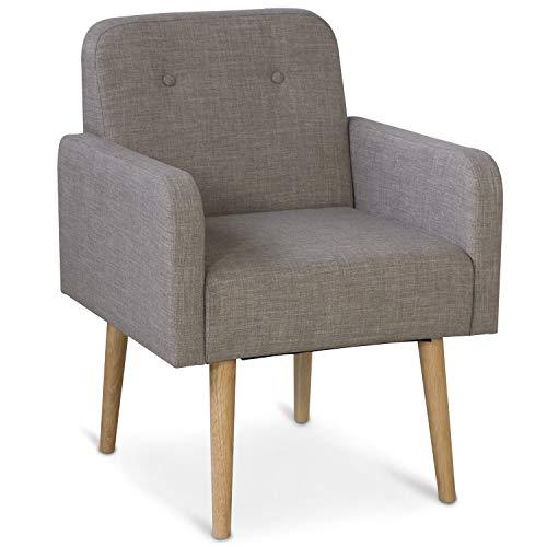 Homestyle4u 1870, Polsterstuhl Grau mit Armlehne und Rückenlehne, Lounge Sessel