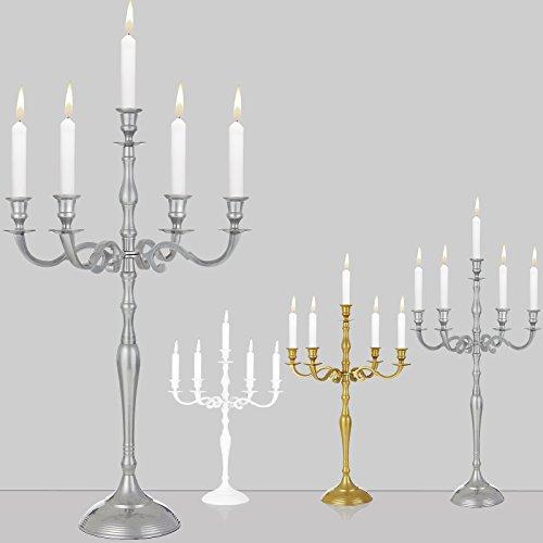 Kerzenleuchter 5-armig Silber 40 cm - Kerzenständer Kerzenhalter Kerzen Leuchter Kandelaber Weihnachtsdekoration - weitere Modell- und Farbauswahl