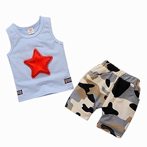 feiXIANG kinderkleidung Junge ärmellose Stern Weste + Camouflage Hosen Kleidung Set Kinder Outfits (80 S Outfits)