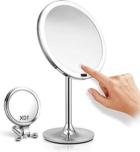 HLM- LED Iluminado Maquillaje Aumento 10x Espejo de baño, Grande 8,5