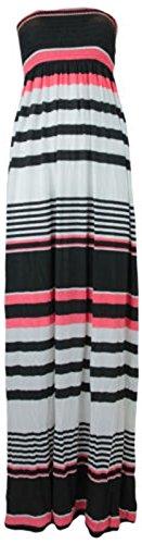 Boob Tube Stretch pour femme Imprimé Sheering Maxi Plus de robe pour femme Tailles :  8–26 - BLACK CORAL STRIPE