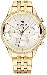 Tommy Hilfiger Women'S Silver White Dial Ionic Thin Gold Plated 2 Steel Watch - 178