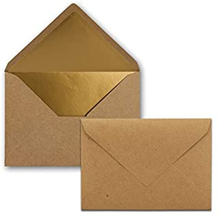 Kuverts in Kraftbraun- 50 Stück - Brief-Umschläge DIN C6-11,4 x 16,2 cm - Naßklebung - Gold-Metallic Fütterung - ohne Fenster für Einladungen