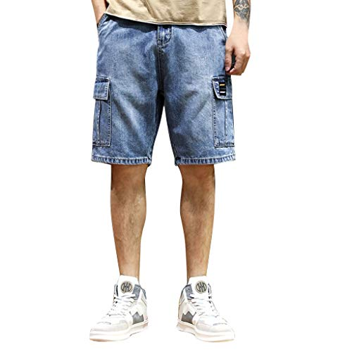 Jeans-tag (GreatestPAK Herren Sommer Jeans Neu Fittings Shorts Bequem Jeansshorts,Blau,EU:3XL(Tag:42))