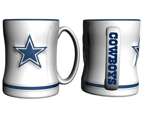 Hall of Fame Memorabilia Dallas Cowboys Kaffee Tasse - 444 ml modellierte, weiß
