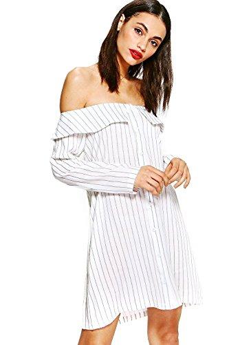 Schwarz Damen Cameron Stripe Off Shoulder Shirt Dress Schwarz