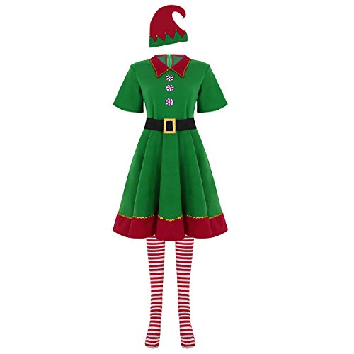 dPois Weihnachten Outfit Kostüm für Herren und Damen Elfen Kostüm Weihnachtself Komplett-Kostüm Weihnachtsmann Cosplay Karneval Fasching Halloween Party Kostüm Damen Medium