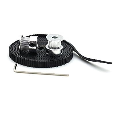 2pcs Aluminum GT2 20T Timing Pulleys and 2 meters 6mm Belt for 3D Printer CNC Reprap Prusa i3
