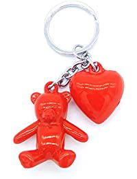 Insasta Lovely Heart And Teddy Bear Hanging Key Chain