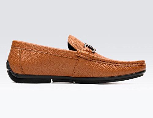 Scarpe Uomo in Pelle Primavera scarpe in pelle da uomo piselli scarpe a testa rotonda in morbida pelle scarpe casual traspirante marea scarpe pigro bianco ( Colore : Bianca , dimensioni : EU40/UK6.5 ) Marrone