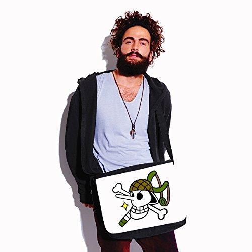 Borsa a tracolla One Piece - Jolly Roger- dimensioni 35x30x11,5 cm Bianco