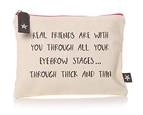 Friends Cosmetics Make Up Wash Bag with Slogan. Real Friends