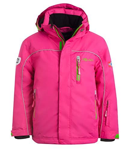 Trollkids Wasserdichte Ski- / Schneejacke Holmenkollen XT, Pink/Grün, Größe 128