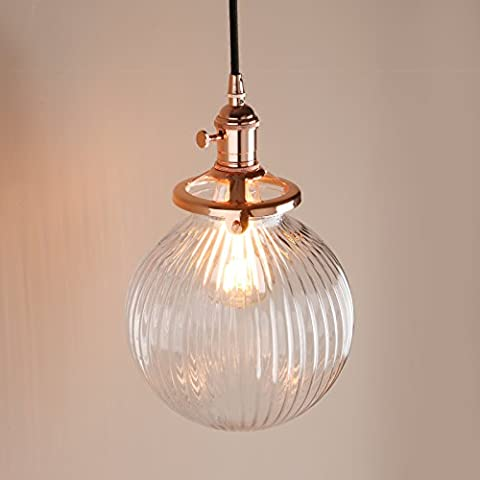 Pathson Industrial Vintage Modern Victoria Hanging Ceiling Pendant Light Fixture Loft Bar Kitchen Island Chandelier with Ribbed Globe Clear Glass Shade (Copper)