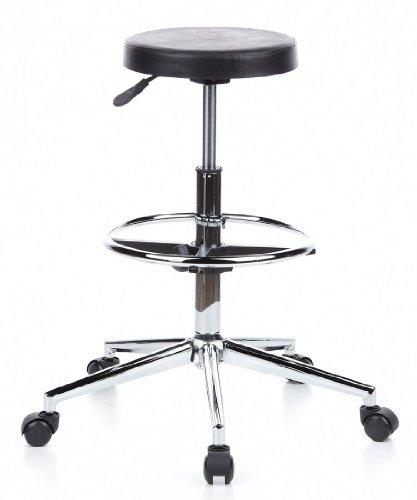 hjh OFFICE 665080 Hocker Drehocker TOP WORK 14 schwarz chrom, rutschfester Hartschaum, leicht zu reinigen, pflegeleichter Sitz, wertig verarbeitet, ohne Armlehnen, Stehhilfe, Arbeitsstuhl (Hocker 14)