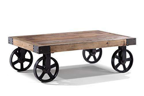 Meubletmoi Table Basse à roulettes rectangulaire Bois Massif et métal - Style Industriel - Collection Héritage