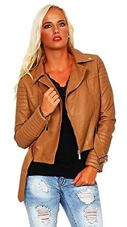 10117 Fashion4Young Damen Kurzjacke im Biker-Stil Jacke Jäckchen Leder Look verf. in 4 Gr. 2 Farben (M=38=T2, Braun)