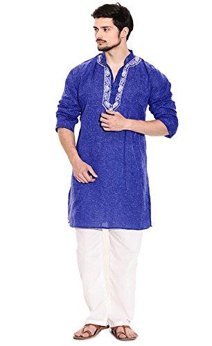 Sai-Chikan-Mens-Blue-Jute-Cotton-Embroidered-Kurta-Payjama