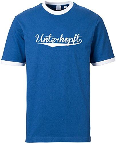 EZYshirt® Unterhopft Herren Rundhals Ringer T-Shirt Blau/Weiss/Weiss