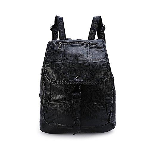Frauen Geldbörse Für Kleiner Rucksack (Frauen Kleine Rucksack Geldbörse Leder Mode PU Lässig Rucksack Taschen für Frauen Mädchen Damen - Schwarz2)