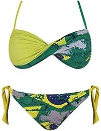 Maillot de Bain Femme Bikini 2 pièces - Couleurs Drapeau Brésil