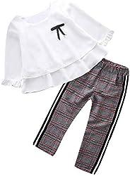 K-youth Conjunto de Ropa para Niñas Ropa Bebe Niño Camiseta de Manga Larga Blusas Niña Top y Pantalones 1-6 Añ