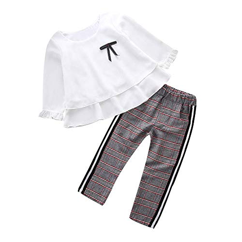 XXYsm 2 Stück Kleinkind Säugling Baby Mädchen Beiläufig Rüschen Kleider Set Lange Ärmel Tops + Hose Outfits Weiß ❤120/5-6 Jahre