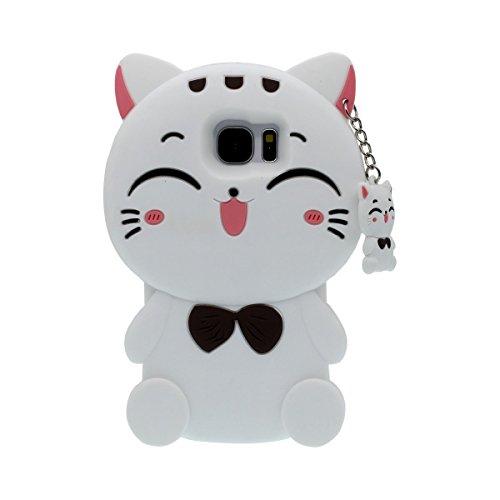 Samsung Galaxy S7Fall, ifunny Cute 3D Cartoon Tiere Fortune Bart Katze stoßfest und Schutz Soft Silikon Rubber Handy Case für Samsung Galaxy S7, White Fortune Cat -